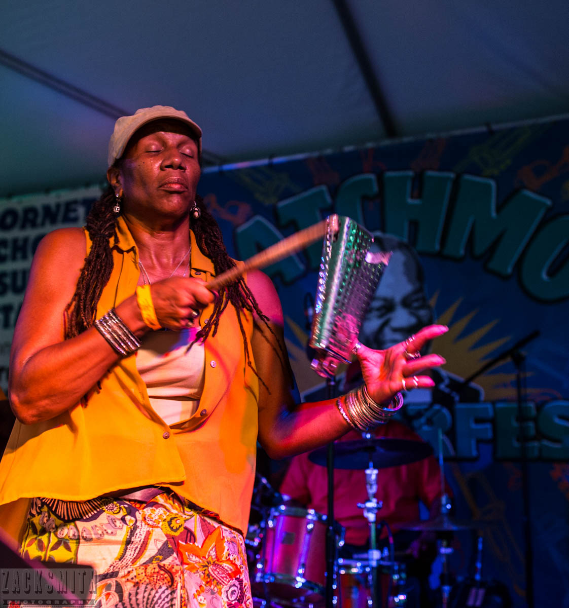 Juggling and playing a cowbell is how Charmaine Neville STARTS her set...not surprised here.