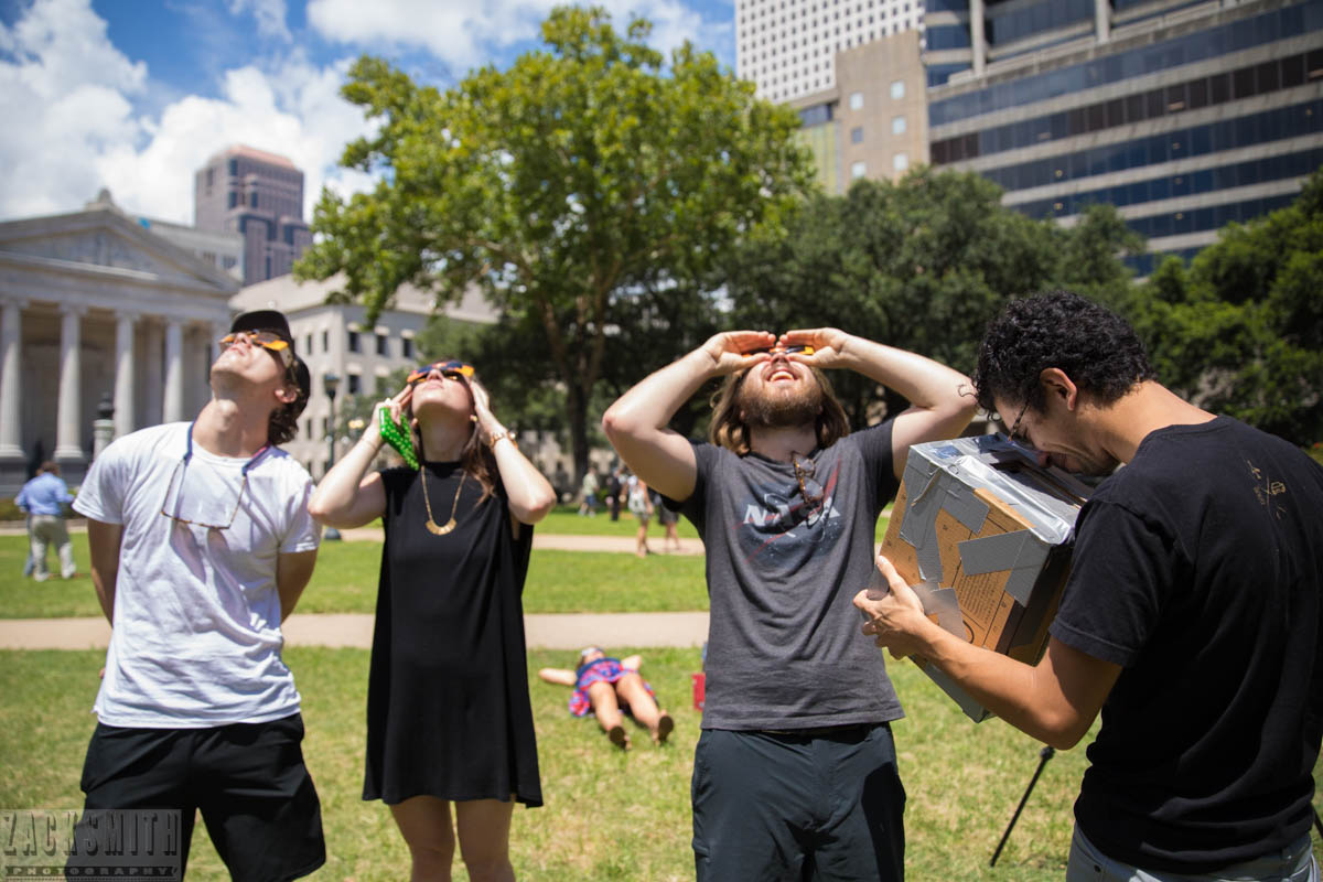 Things were looking up at Lafayette Square in New Orleans viewing the Solar Eclipse. ©ZSP